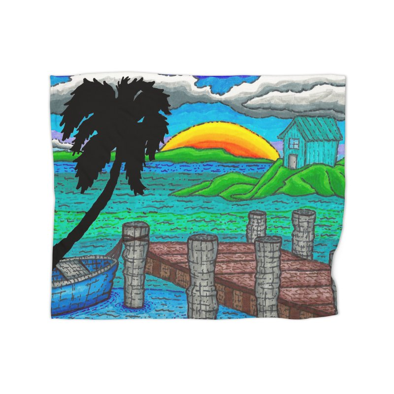 Paradise Home Fleece Blanket Blanket by Paxton's Artist Shop