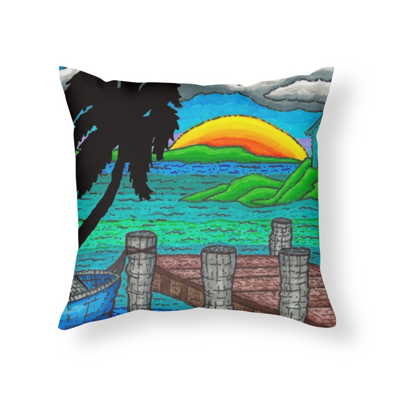 Paradise Home Throw Pillow by Paxton's Artist Shop