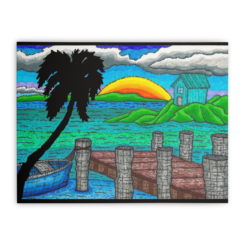 Paradise Home Stretched Canvas by Paxton's Artist Shop