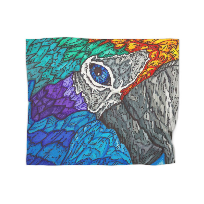 Parrot Home Fleece Blanket Blanket by Paxton's Artist Shop