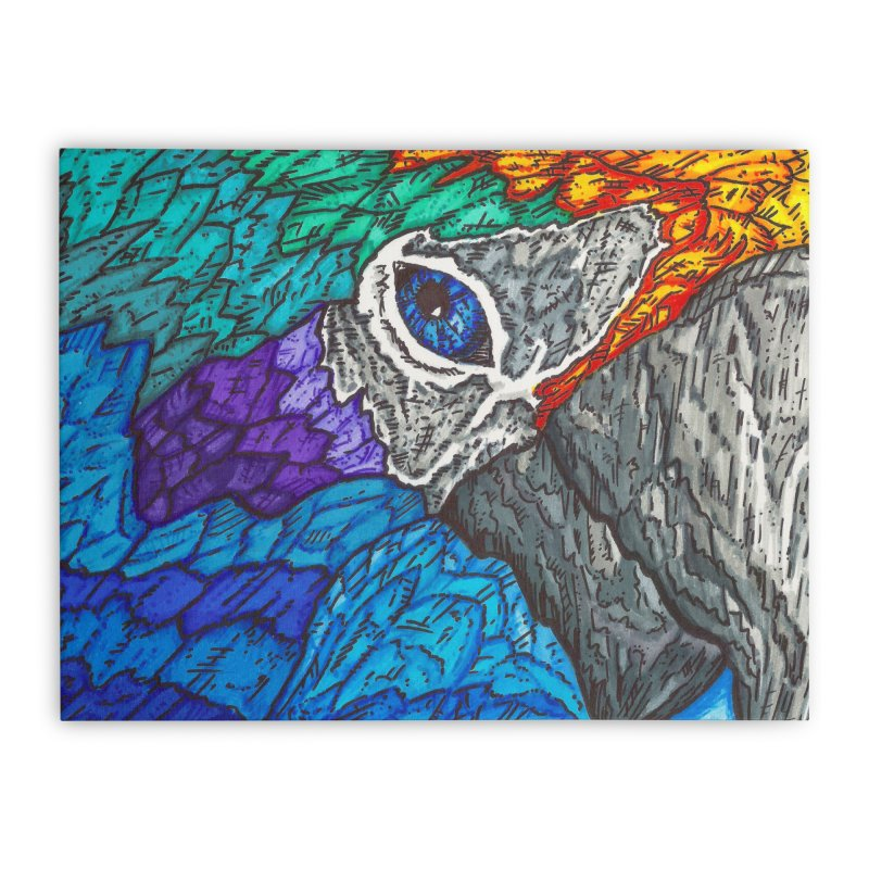 Parrot Home Stretched Canvas by Paxton's Artist Shop