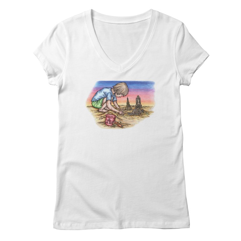 Hands of Time Women's Regular V-Neck by Paxton's Artist Shop