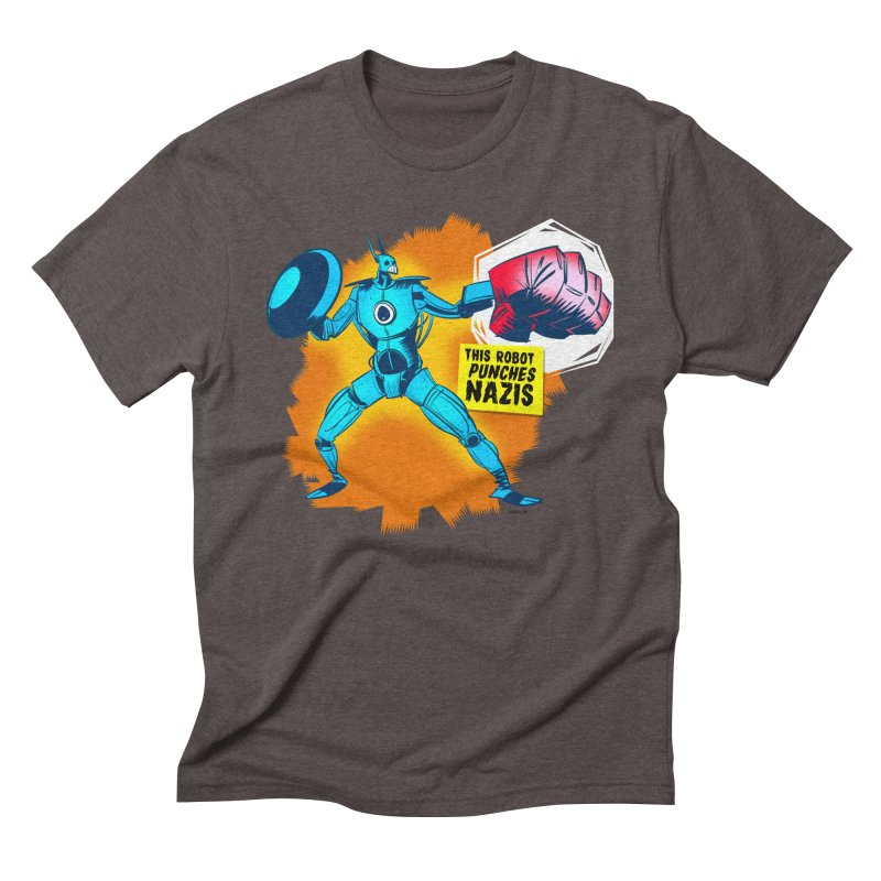 This Robot Punches in Men's Triblend T-shirt Tri-Coffee by Krishna Designs