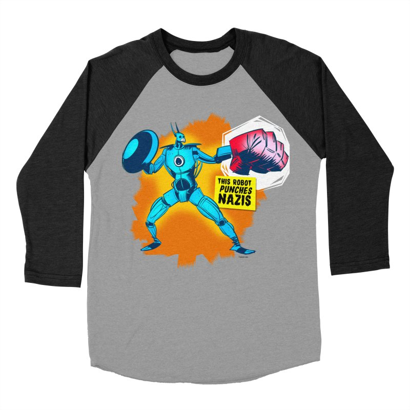 This Robot Punches Women's Baseball Triblend T-Shirt by Krishna Designs