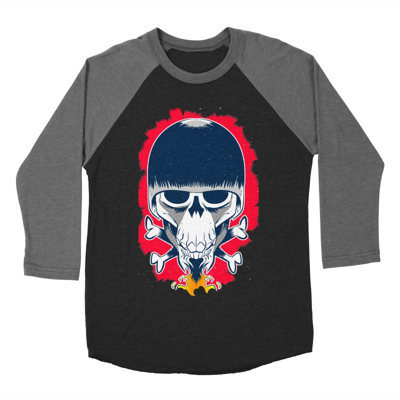 Motor Skull Men's Baseball Triblend T-Shirt by Krishna Designs