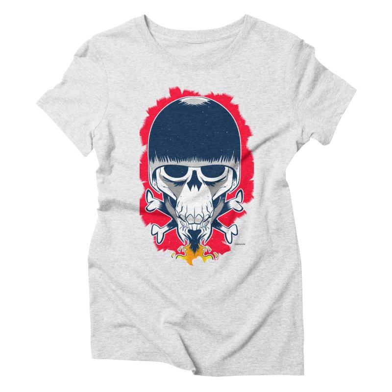 Motor Skull Women's Triblend T-shirt by Krishna Designs