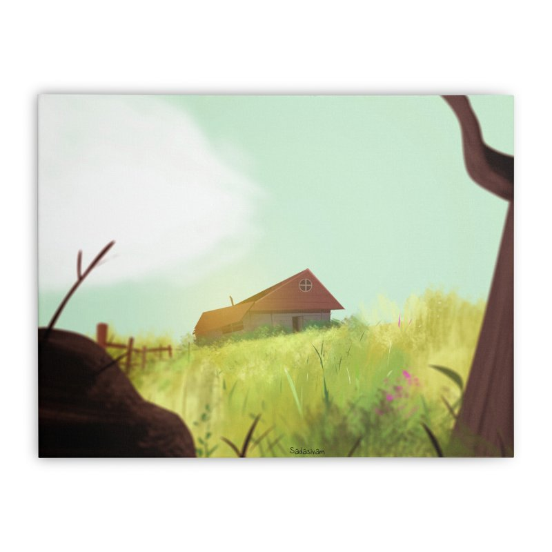 The House on the Hill Home Stretched Canvas by Krishna Designs
