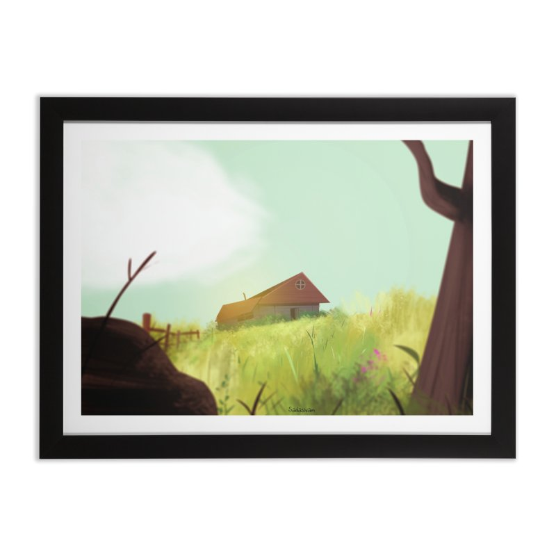 The House on the Hill in Framed Fine Art Print Black by Krishna Designs