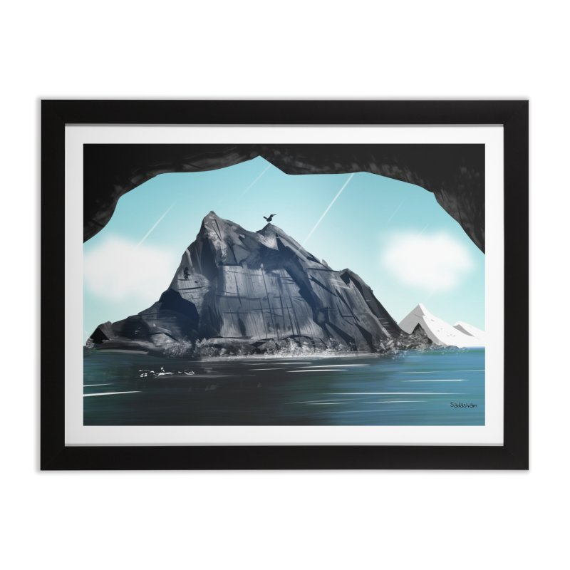 Winter Peak in Framed Fine Art Print Black by Krishna Designs