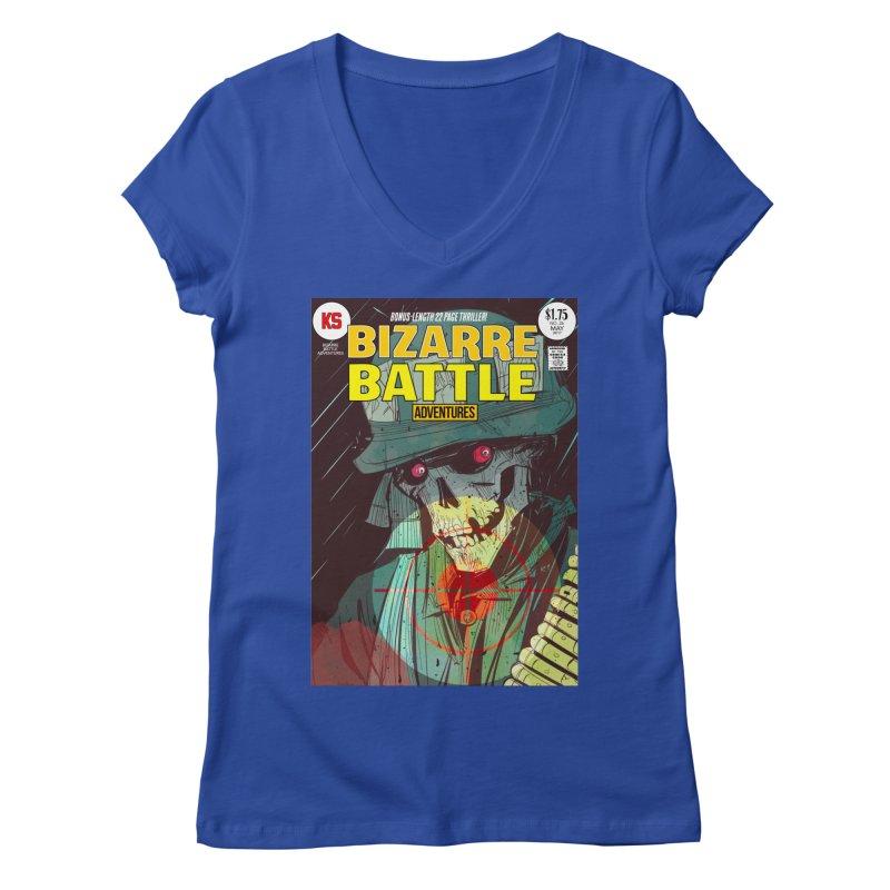 Bizarre Battle Adventures Cover art Women's Regular V-Neck by Krishna Designs