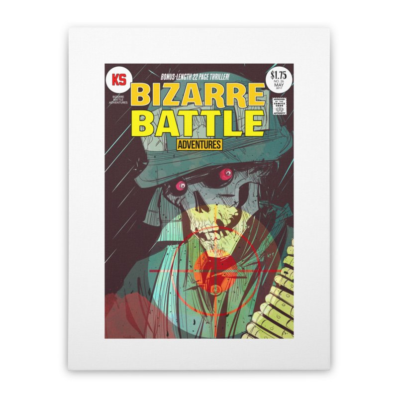 Bizarre Battle Adventures Cover art Home Stretched Canvas by Krishna Designs