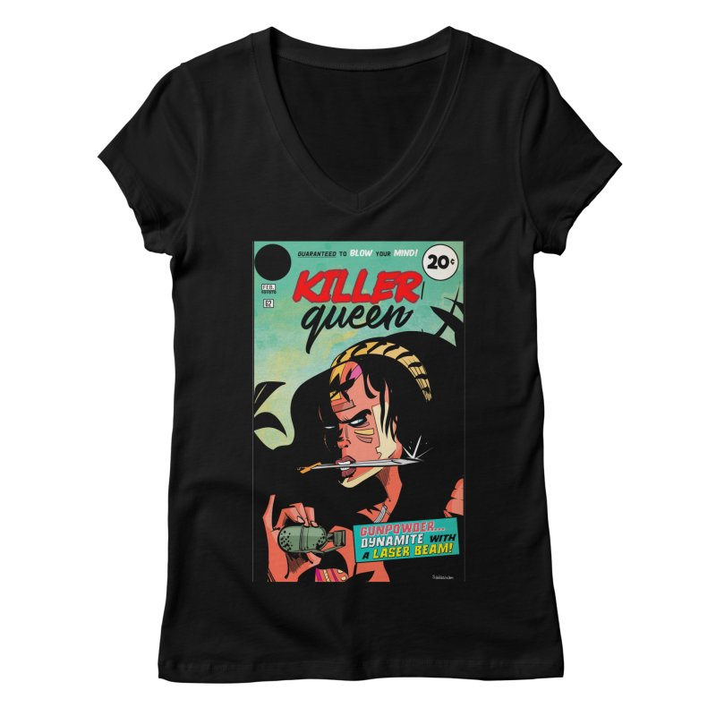 Killer Queen Women's V-Neck by Krishna Designs