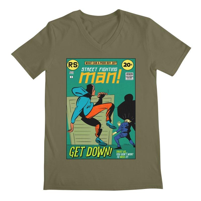Street Fighting Man Men's Regular V-Neck by Krishna Designs