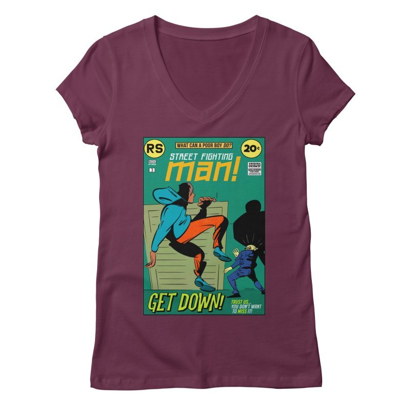 Street Fighting Man Women's V-Neck by Krishna Designs