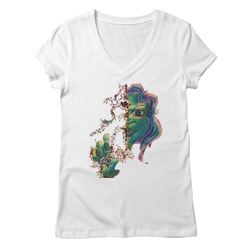 Pixels Women's Regular V-Neck by peacewild's Artist Shop