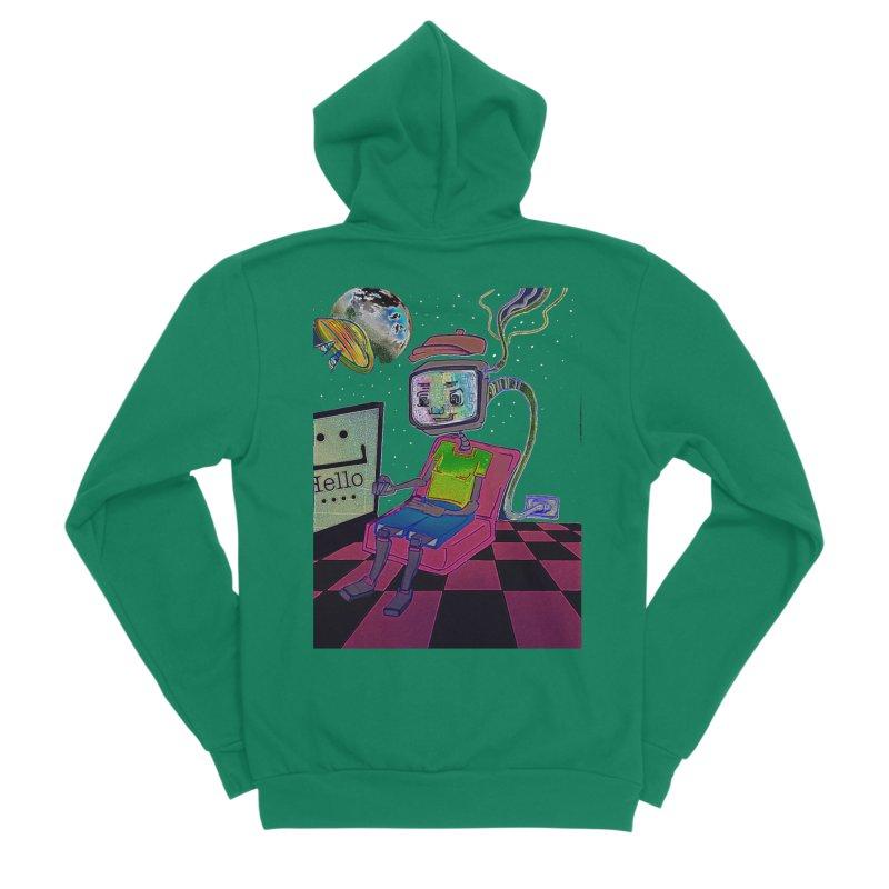 Robot World Women's Sponge Fleece Zip-Up Hoody by peacewild's Artist Shop