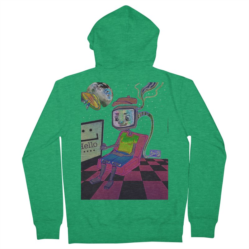 Robot World Women's French Terry Zip-Up Hoody by peacewild's Artist Shop