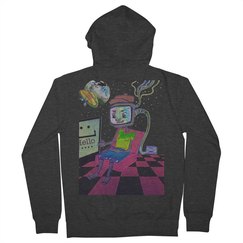 Robot World Men's French Terry Zip-Up Hoody by peacewild's Artist Shop
