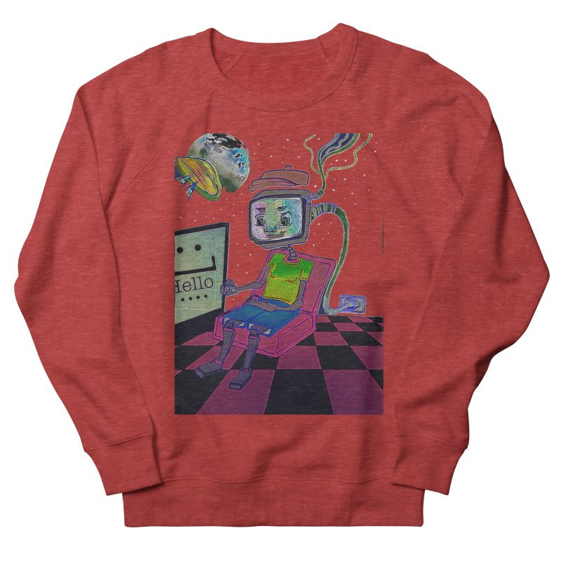 Robot World Women's French Terry Sweatshirt by peacewild's Artist Shop