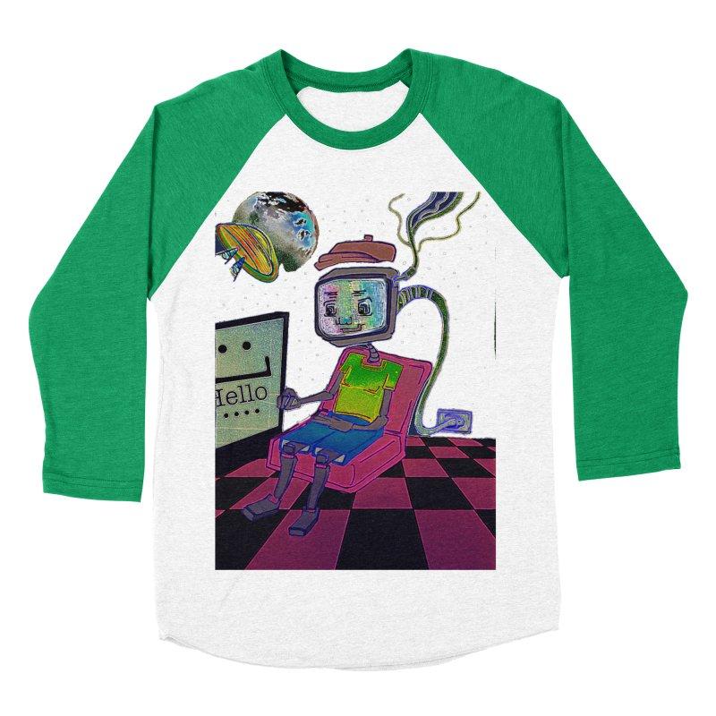 Robot World Men's Baseball Triblend Longsleeve T-Shirt by peacewild's Artist Shop