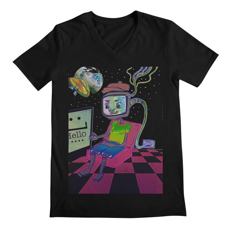 Robot World Men's Regular V-Neck by peacewild's Artist Shop