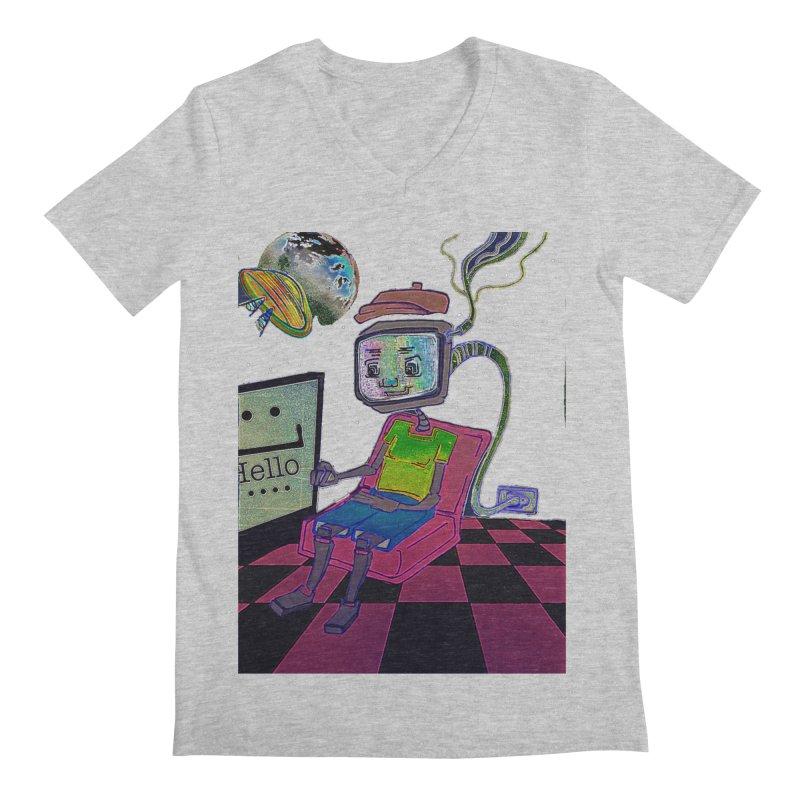 Robot World Men's Regular V-Neck by peacewild's Artist Shop