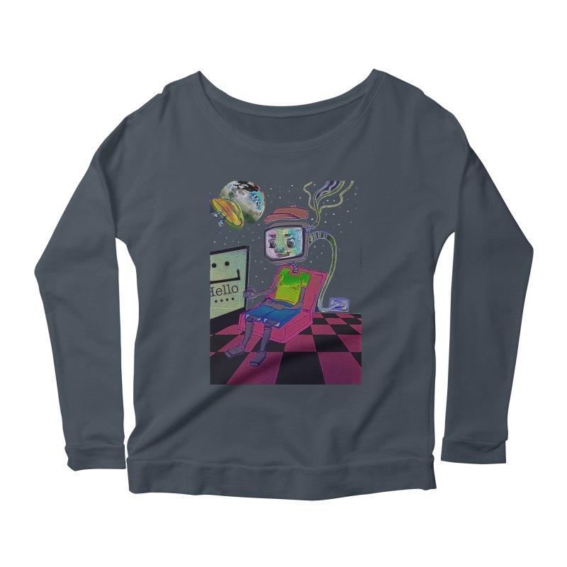Robot World Women's Scoop Neck Longsleeve T-Shirt by peacewild's Artist Shop