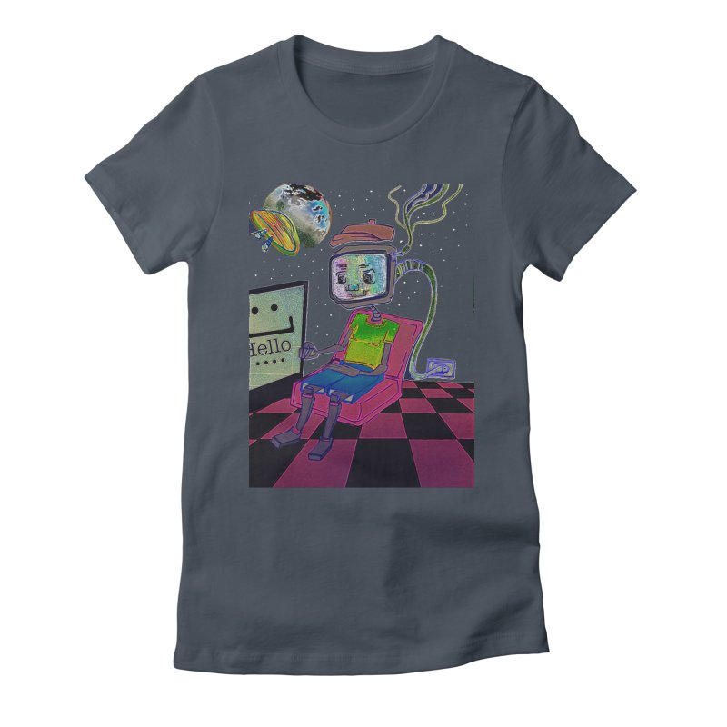 Robot World Women's Fitted T-Shirt by peacewild's Artist Shop