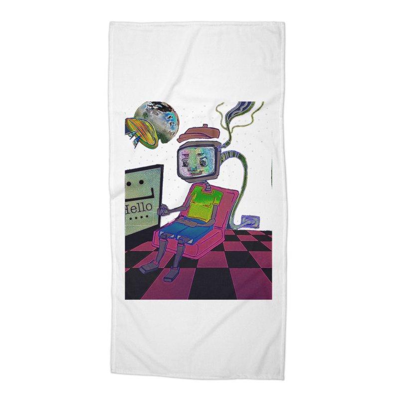 Robot World Accessories Beach Towel by peacewild's Artist Shop