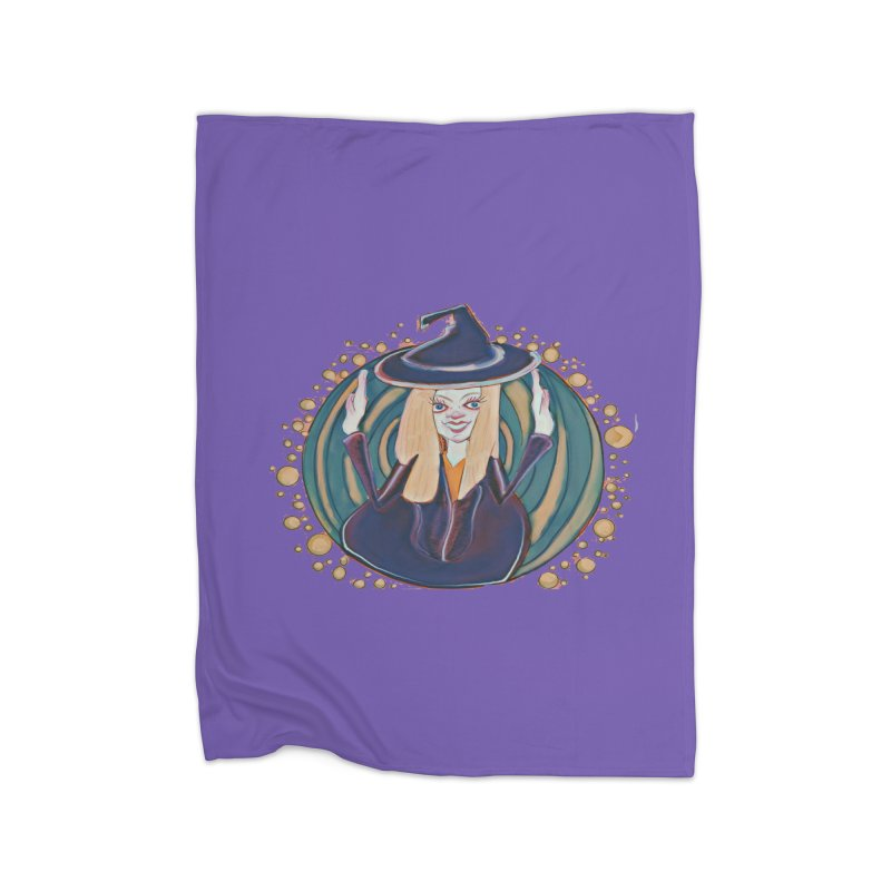 Witchy Magic Home Fleece Blanket Blanket by peacewild's Artist Shop