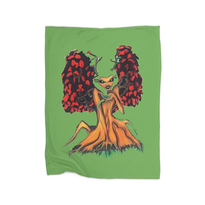 The Red Tree Fae Home Fleece Blanket Blanket by peacewild's Artist Shop