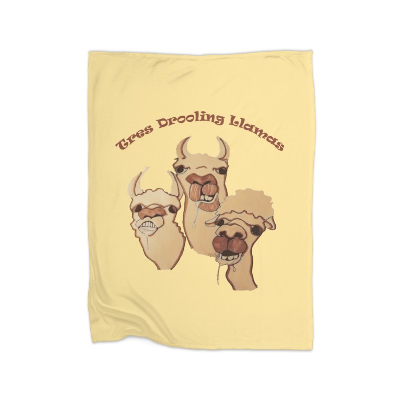 Tres Drooling Llamas Home Fleece Blanket Blanket by peacewild's Artist Shop