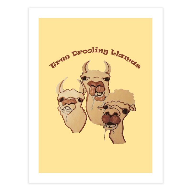 Tres Drooling Llamas Home Fine Art Print by peacewild's Artist Shop