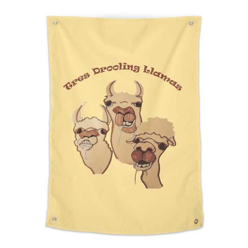 Tres Drooling Llamas Home Tapestry by peacewild's Artist Shop