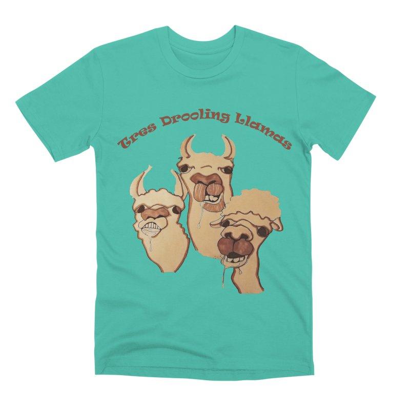 Tres Drooling Llamas Men's Premium T-Shirt by peacewild's Artist Shop