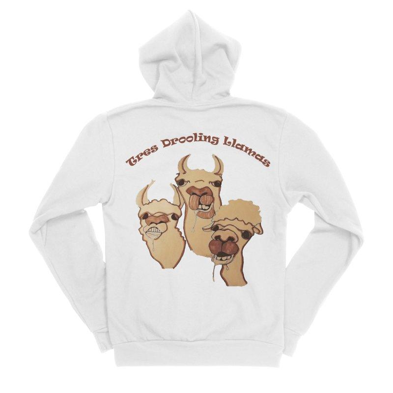 Tres Drooling Llamas Women's Sponge Fleece Zip-Up Hoody by peacewild's Artist Shop