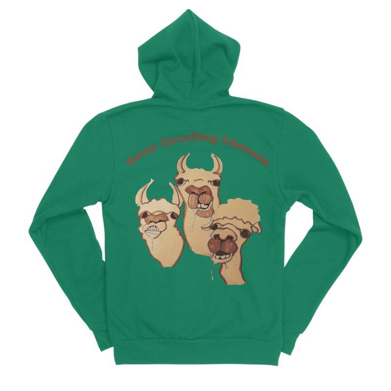 Tres Drooling Llamas Men's Sponge Fleece Zip-Up Hoody by peacewild's Artist Shop