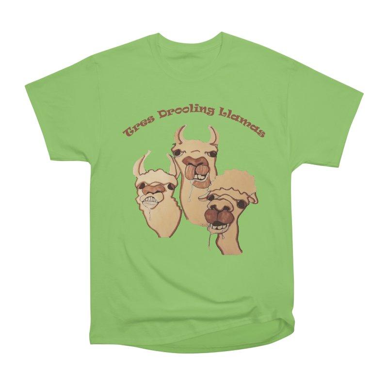 Tres Drooling Llamas Men's Heavyweight T-Shirt by peacewild's Artist Shop