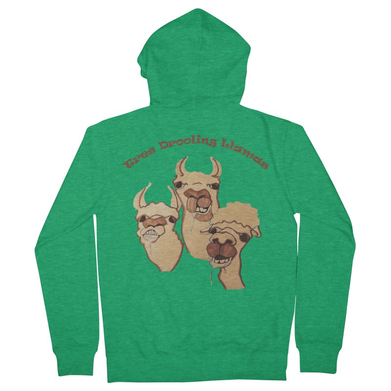 Tres Drooling Llamas Women's French Terry Zip-Up Hoody by peacewild's Artist Shop