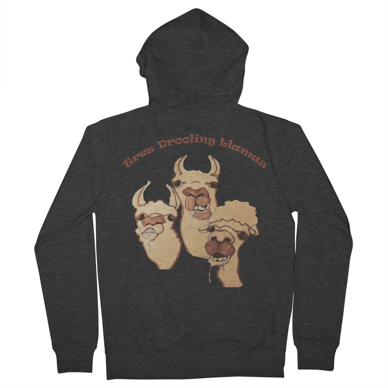 Tres Drooling Llamas Men's French Terry Zip-Up Hoody by peacewild's Artist Shop