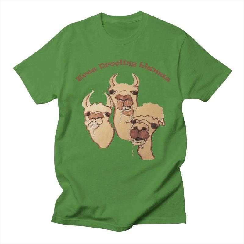 Tres Drooling Llamas Men's Regular T-Shirt by peacewild's Artist Shop