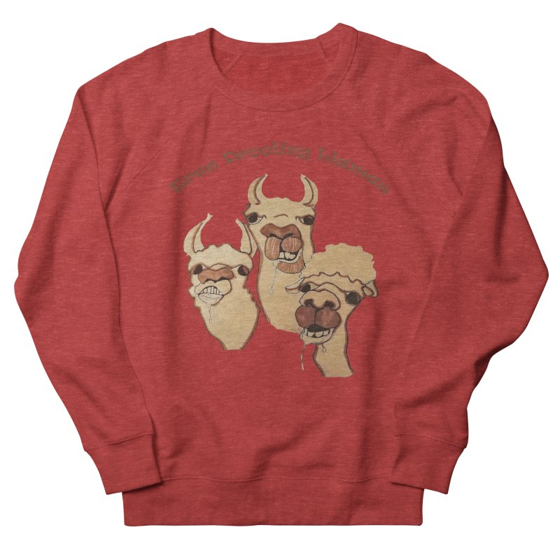 Tres Drooling Llamas Women's French Terry Sweatshirt by peacewild's Artist Shop