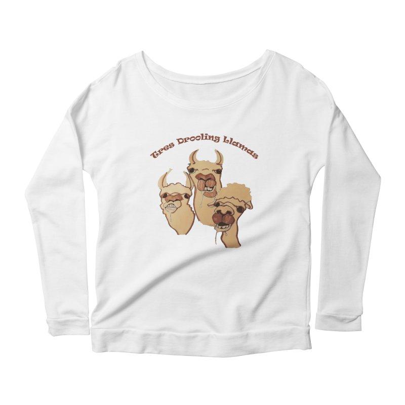 Tres Drooling Llamas Women's Scoop Neck Longsleeve T-Shirt by peacewild's Artist Shop