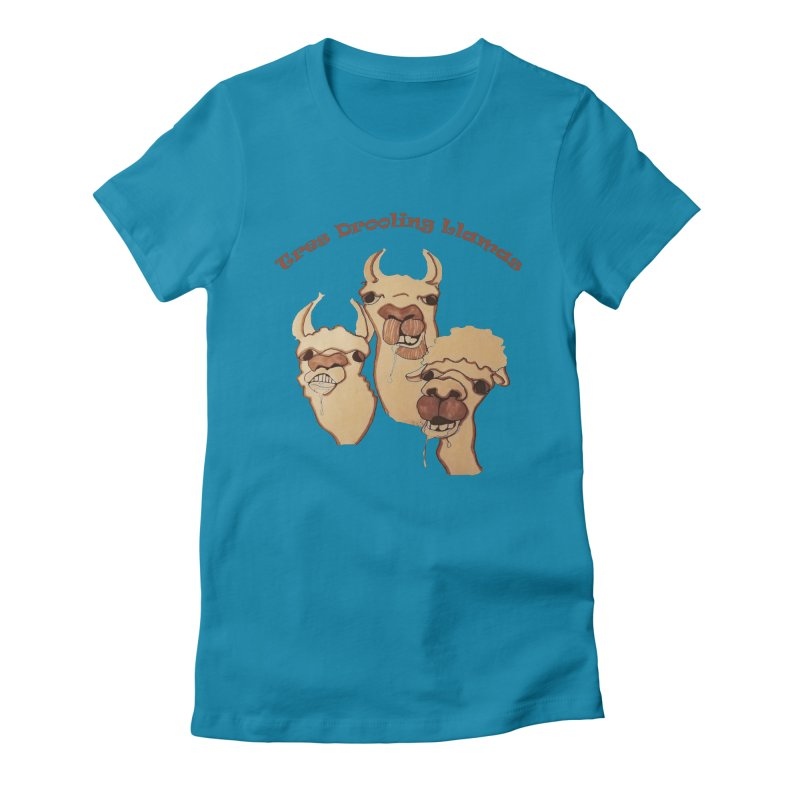 Tres Drooling Llamas Women's Fitted T-Shirt by peacewild's Artist Shop