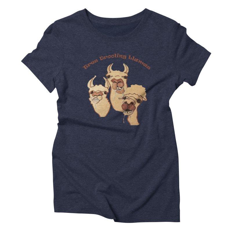 Tres Drooling Llamas Women's Triblend T-Shirt by peacewild's Artist Shop