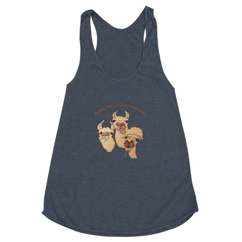 Tres Drooling Llamas Women's Racerback Triblend Tank by peacewild's Artist Shop