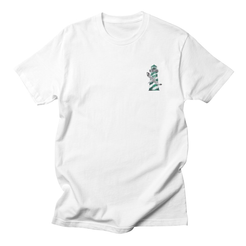 Green Lighthouse in Men's Regular T-Shirt White by Peasant Clothing Shop