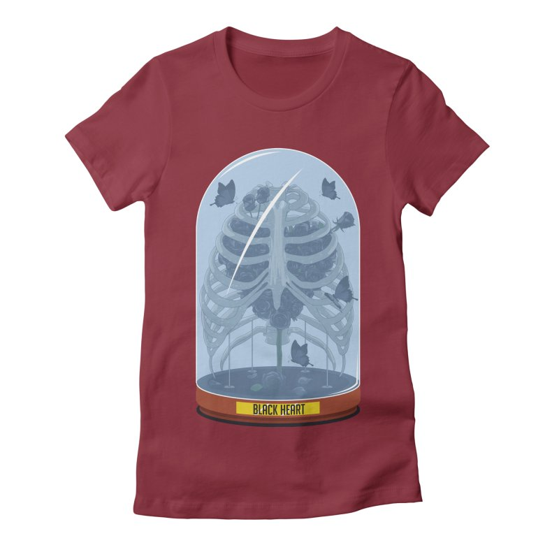 Black Heart Women's Fitted T-Shirt by pedrorsfernandes's Artist Shop
