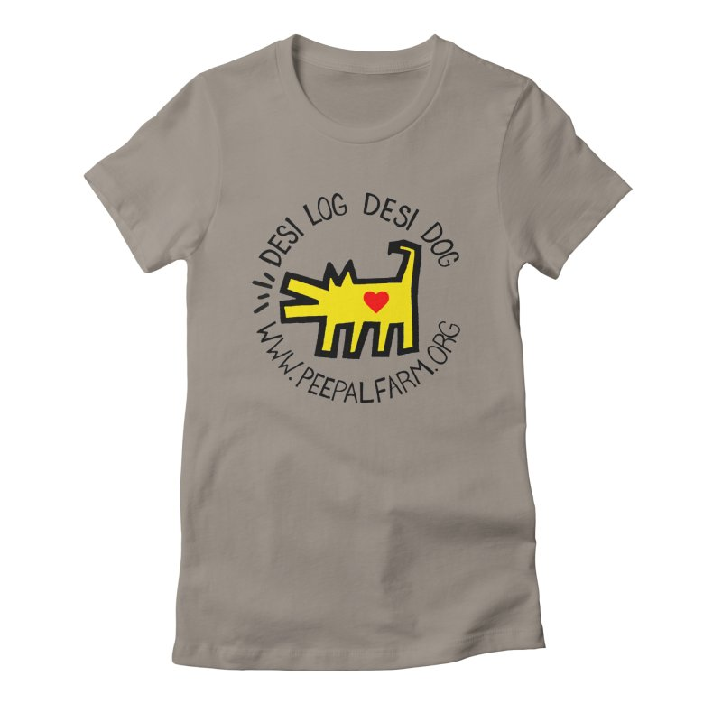 Desi Log Desi Dog in Women's Fitted T-Shirt Warm Grey by Peepal Farm's Shop