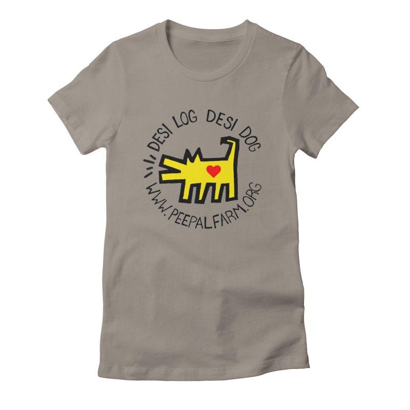 Desi Log Desi Dog in Women's Fitted T-Shirt Warm Grey by Peepal Farm's Shop